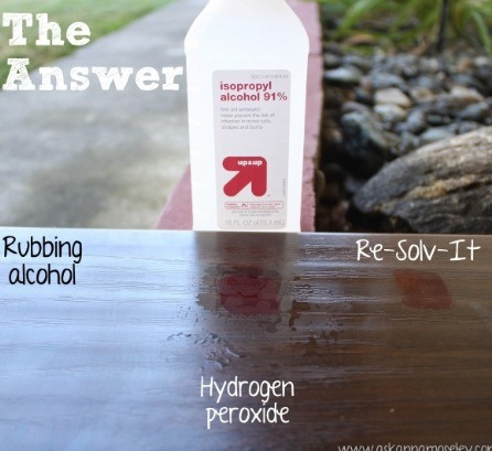 First use rubbing alcohol then peroxide then finish with resolve or wd-40