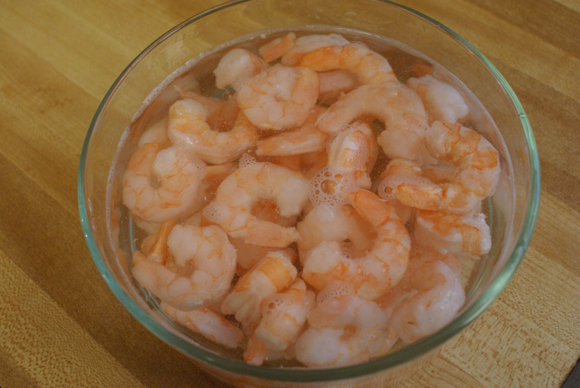 Add 1/2 a pound of frozen shrimp thaw it for 15 minutes