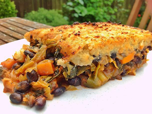 Black Bean abd Vegetable Pie - Serves 2-4