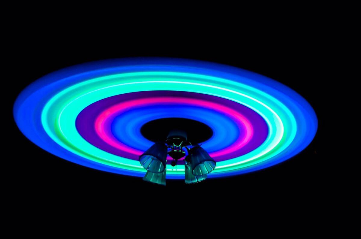 Glow sticks ceiling fan