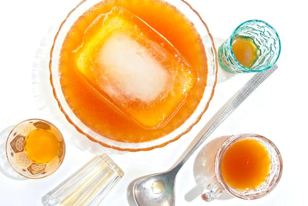 Make an ice block for punch — it melts slower on a hot day and waters down the punch less.  Fill any container with water and freeze it overnight — you can use a baking pan, Tupperware. To release the ice, turn it upside down over the sink and run hot water over it until the ice block pops out.