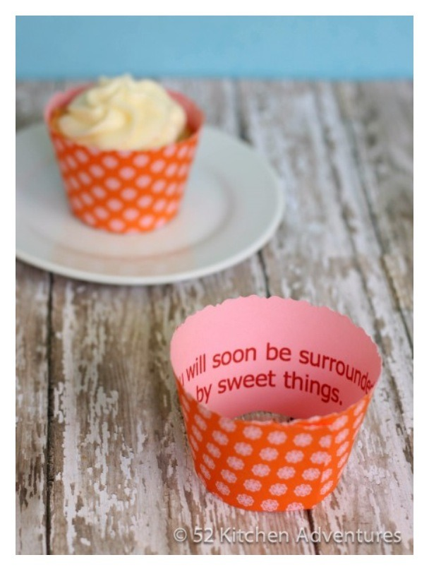 Read the entire instructions and grab your Free Printable here -- http://www.52kitchenadventures.com/2012/07/25/diy-fortune-cupcakes-free-printable/
