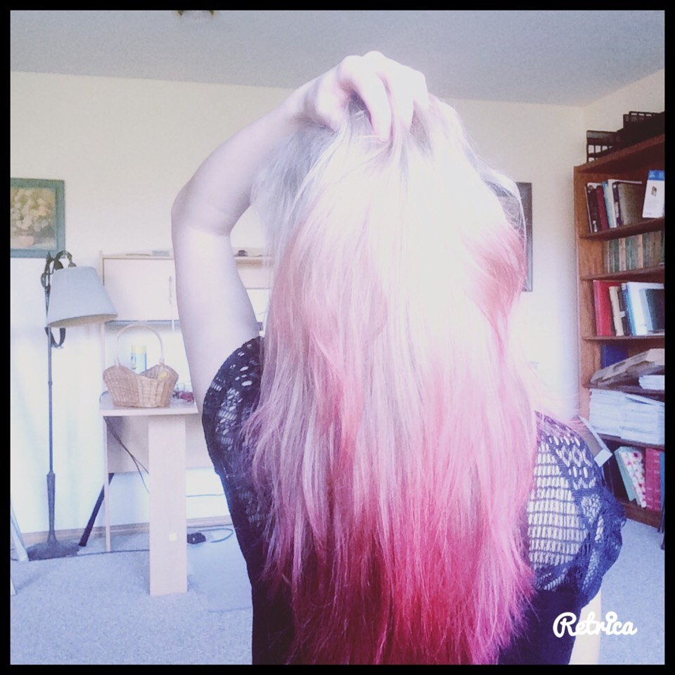 This will be the result if you have blond hair, if you have a darker color of hair you will have to do it more then once.