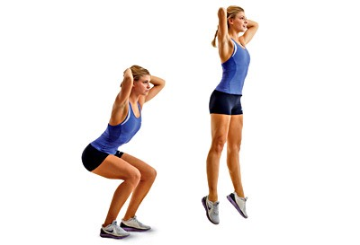 3. Jump Squats: A squat jump is a great way to take your typical squat to the next level by adding a powerful jump at the end! Not only will your booty and quads get a workout, but this will raise your heart rate as well. You can learn how to do the move here or watch it below.