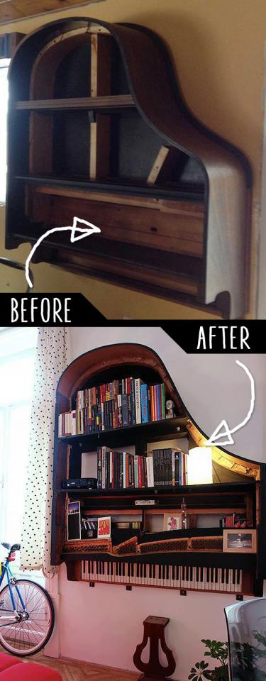 Grand Piano Bookshelf  http://www.instructables.com/id/Building-a-Piano-Bookcase-for-free/