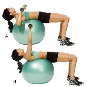 Incline Chest Fly/Press  Target: shoulders + pectoralis Reps: Alternate between moves for 1 min.  *FLY* >Start: arms straight out in front of you >Open arms to side until you feel a gentle stretch across the chest  *PRESS* >Pull arms back to start >Bring arms down to a 90-degree angle