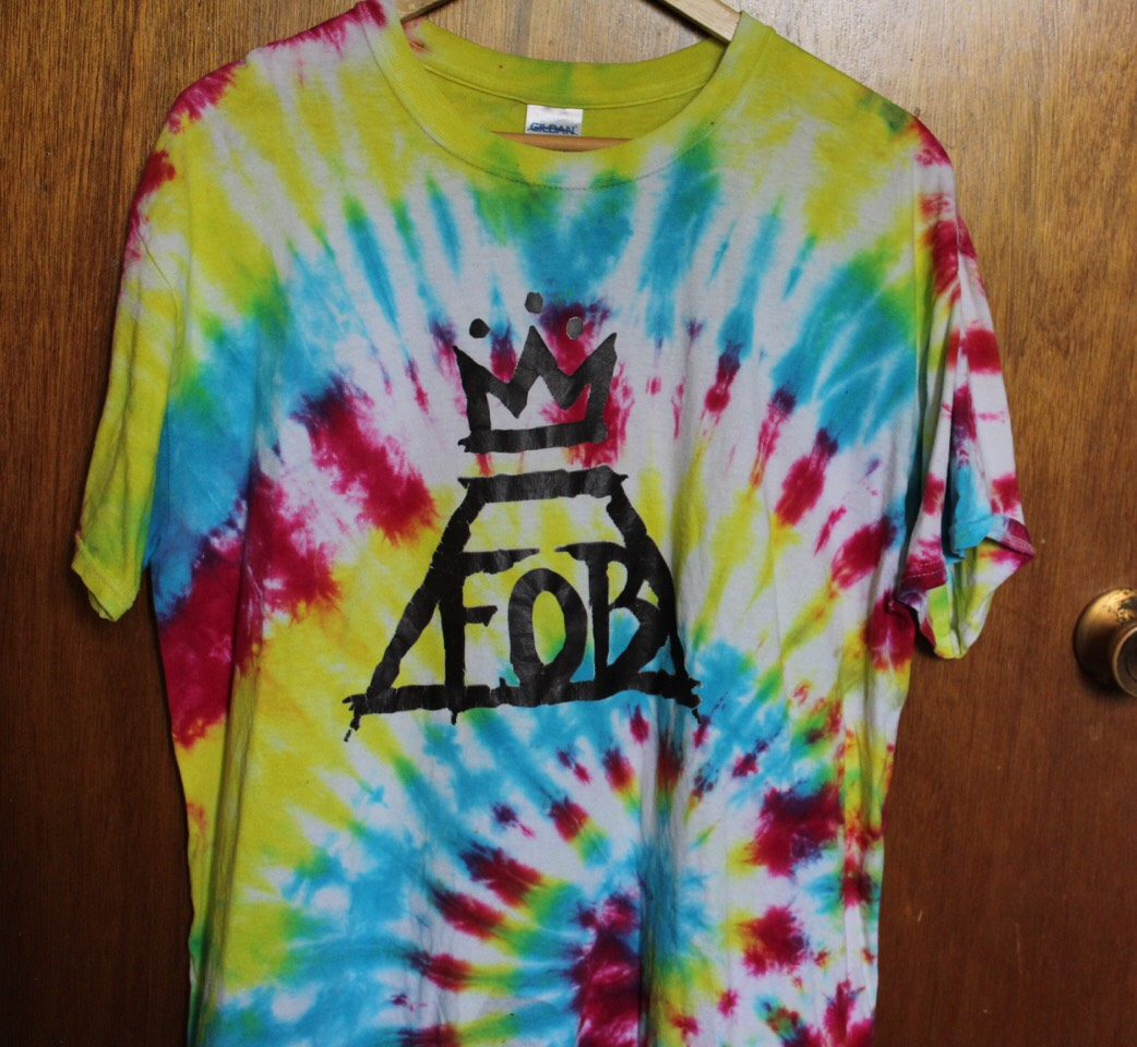 Band- Fall Out Boy  This is my favourite shirt I made it for the Boys Of Zummer Tour I went in June with my best friend I made it with a tiedye kit and iron on transfers