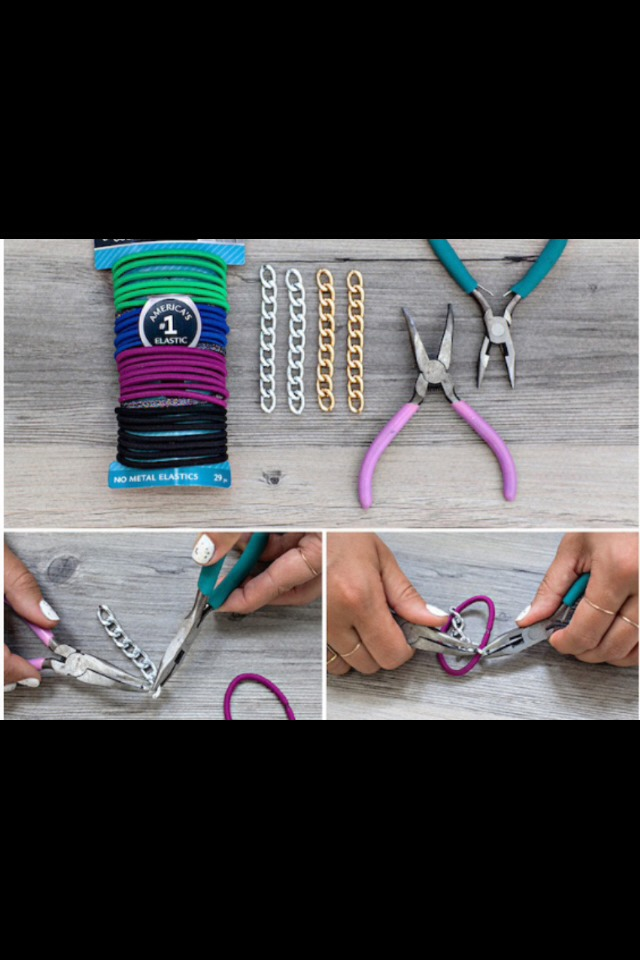 What you need~ * goody hair ties * jewelry pliers * chain