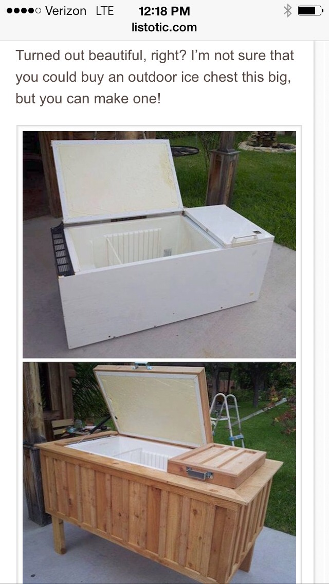 Turned out beautiful, right? I'm not sure that you could buy an outdoor ice chest this big, but you can make one!