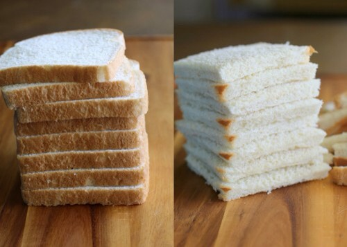 Instructions:  1. Cut the crust from each slice of bread.