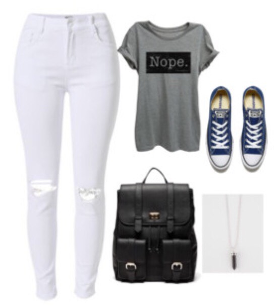 Pants: Fashion Q T-Shirt: Forever 21 Shoes: Converse outlets Necklace: Tillys Backpack: Target (Theseitems are not directly at the store but havevery similar items from these in the picture😊)