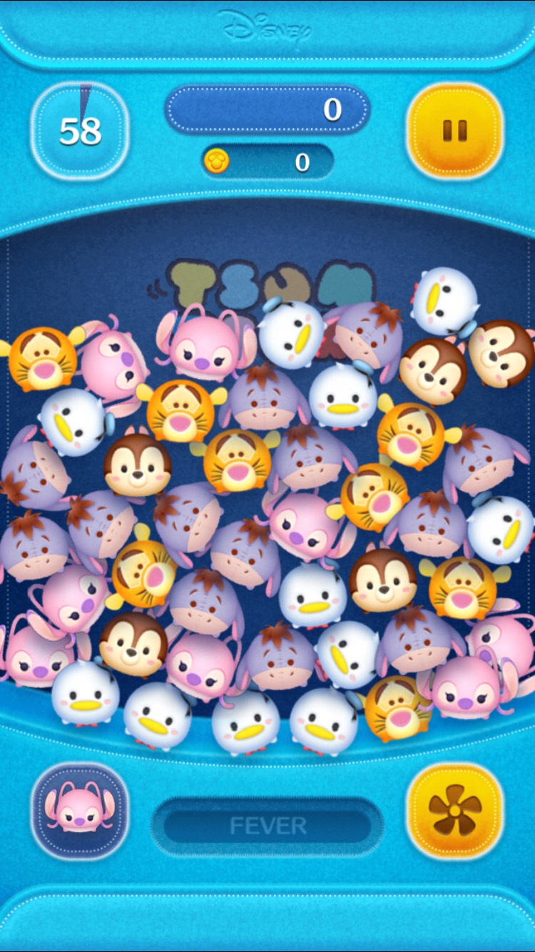 Now, Let's Talk About the Gameplay! The Object of the Game is to Link Up as Many of the Same Tsum Tsums as U Can. At The Bottom is the Special Skill Icon, the Fever Bar and and Fan Icon. The Fan Blows the Tsum Tsums into Different Places, and the Fever Bar Gives U More Points When Filled Up!