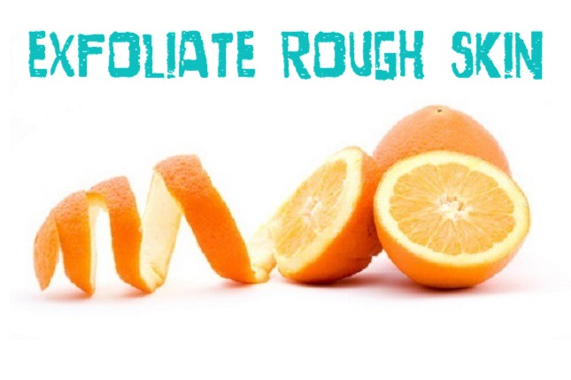 EXFOLIATE ROUGH SKIN | Cut an orange in half + rub it on your elbows + knees. The citric acids help smooth rough patches + it smells good too. Rinse off the sticky mess when you are done.