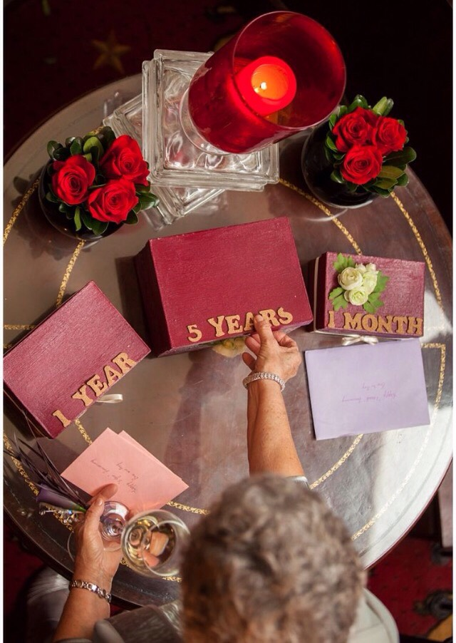 At your wedding, have your guests write notes to you and your spouse to open at different anniversaries