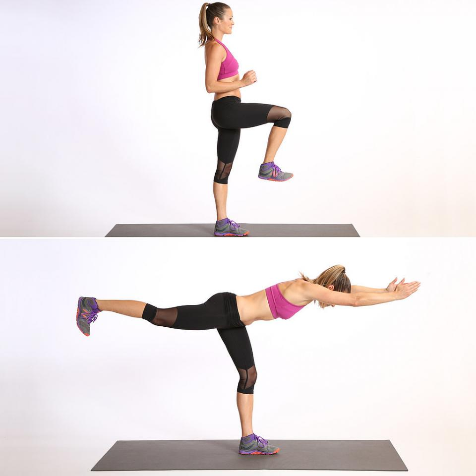 Circuit One: Leg Balance Warrior 3: Do 10 reps, then switch sides.