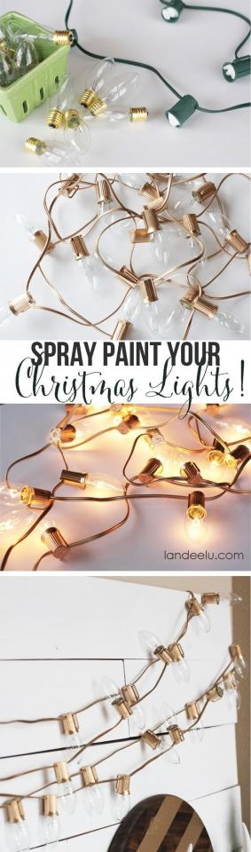 18. An spray paint green holiday bulbs gold to get a super polished look.