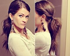 Grab all your hair and put it in a pony tail, twist the front for extra prettiness! Next, take a small price of hair and wrap it around the hair tie. Tweeze your hair at the pony tail  unless you already have thick hair. Bam! Your done!!