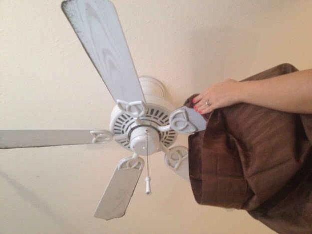 26.Use a pillowcase to dust off your grimy fan blades without getting dust all over your rooms.  Watch the how-to videohere.