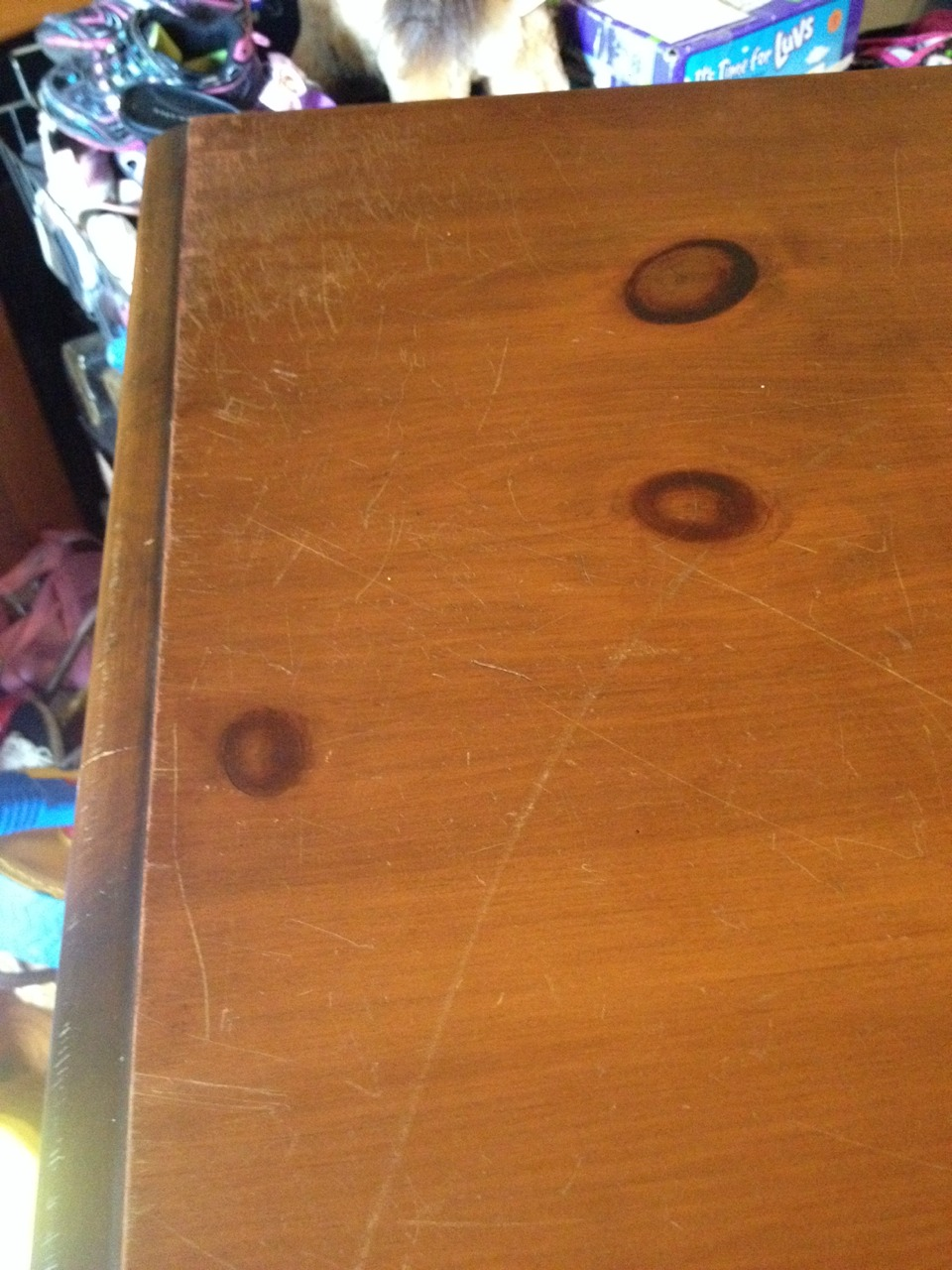Old scratched up dresser great item very sturdy but scratched to HEdouble hockey sticks.....