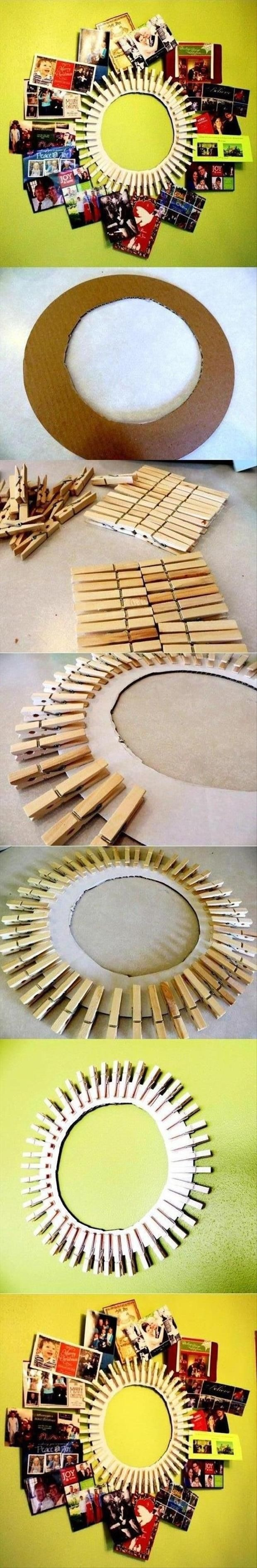 Personally, I wanna try this and just cut a big circle and then find a mirror to put in the middle. Also considered maybe painting the clothespins too just for a added boost of color, I was thinking rainbow would be fun! 😊