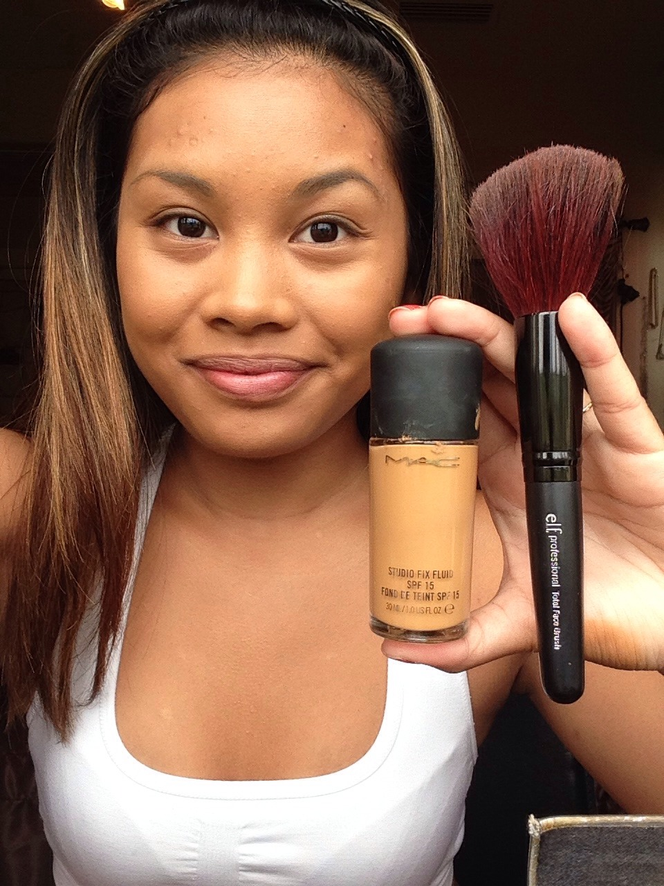 Use your foundation all over your face.