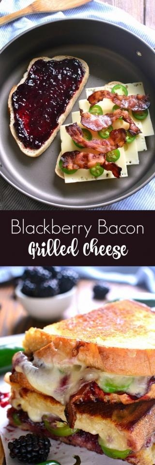 This Blackberry Bacon Grilled Cheese is the perfect combination of savory and sweet! Made with Swiss cheese, blackberry jam, fresh jalapeños, and crispy bacon, it's a must try for ALL sandwich lovers!#grilledcheese