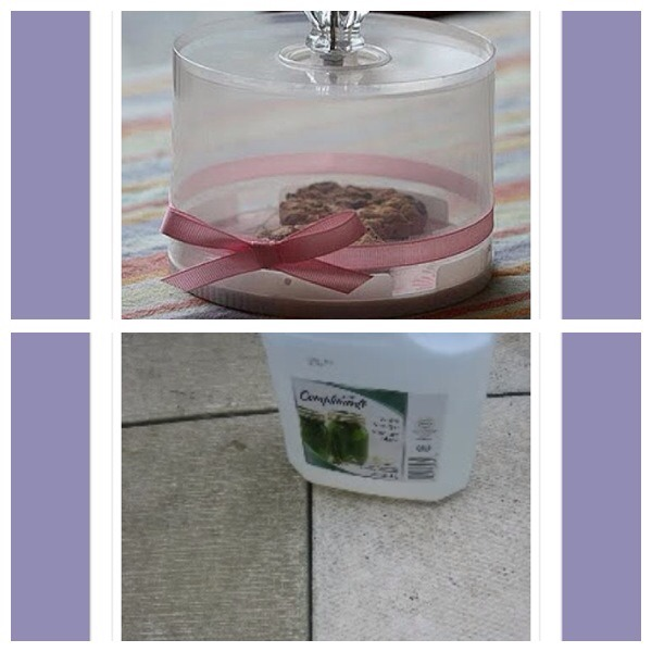 5. Repurpose an old cd spindle to make a pretty small cake/biscuit holder 6. Clean patio stones with a solution of 1/2 white vinegar and 1/2 water in a spray bottle. Leave on for 10 minutes and rinse off