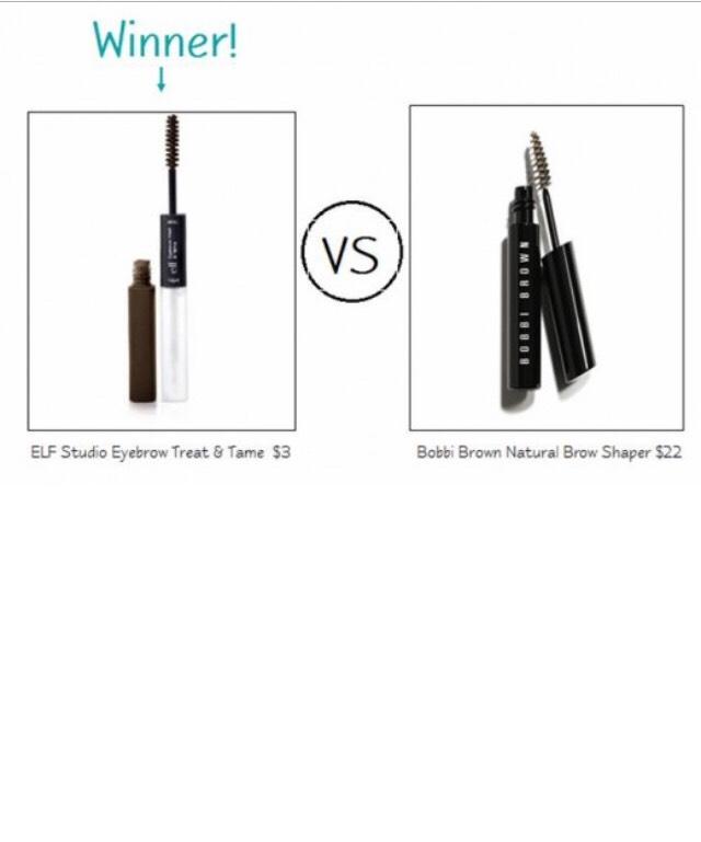 ELF Studio Eyebrow Treat & Tame in Deep ($3) vs. Bobbi Brown Natural Brow Shaper Mascara ($22)