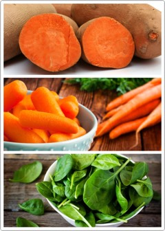 SWEET POTATOES | Aproduce-rich diet provides thebody with lots of water, keepingskin + other cellshydrated.Loading up on deeply-colored fruits + vegetables,especially those rich in vitamin A-sweet potatoes, carrots, spinach-enhancesskin color + appearance by increasing itsyellow+ redness.