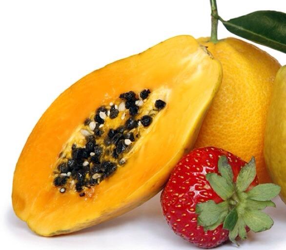 Ingredients:  2 large, fresh strawberries 1 cooked peach 1/2 ripe papaya 1 teaspoon organic honey 1 tbs oatmeal