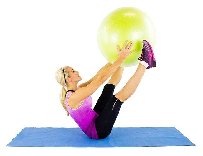 Stability Ball V-Pass: That ball might feel light, but wait until your abs have to support it! You'll start sweating in no time! Beginner: 3 sets of 12 (bend your knees if necessary) Advanced: 3 sets of 15