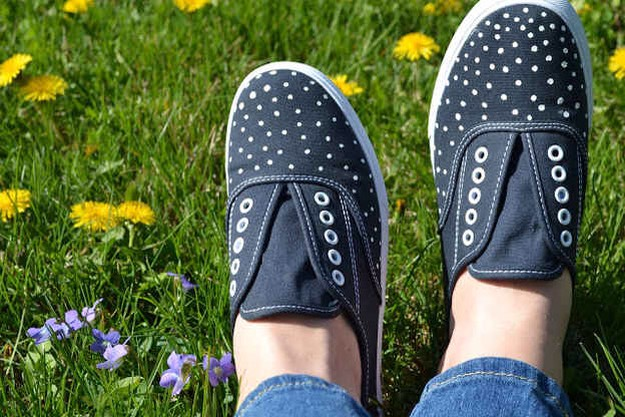 5. Make cute little polka dot kicks with a fabric paint pen.  It's literally so easy!