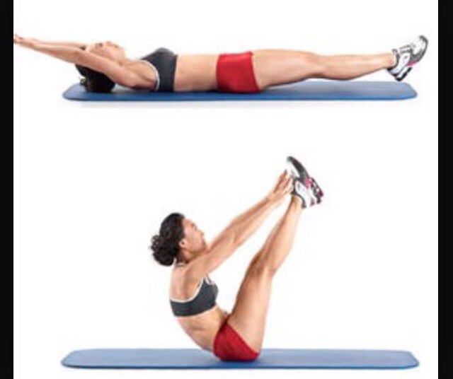 Instead of holding this position, as well as several of the other challenging stretches, do several holding them for only a few seconds. This way, lactic acid doesn't build up as much (so you won't be as sore!!!)