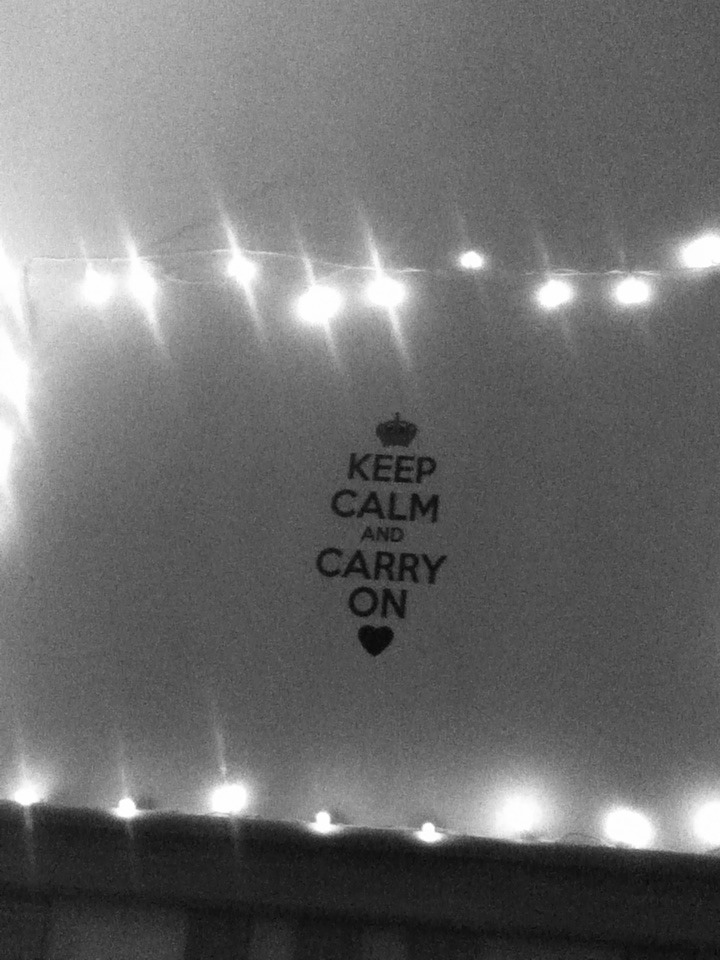 "I bought the ""Keep Calm"" sign at my local dollar tree but u can also order online!(: and my lights are from a neighbor."