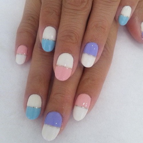 You can use tape to mark them and then when it dries you can add the sparkles or polkadots with a bobby pin