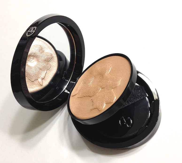 Chisel Cheeks: At the center of your forehead, sweep matte bronzer along hairline, under cheeks, around jaw and on sides of neck. Highlight and elongate the your face with light shimmer powder (Giorgio Armani Belladonna Palette Highlighter) on tops of cheeks, bridge of nose and center of chin.