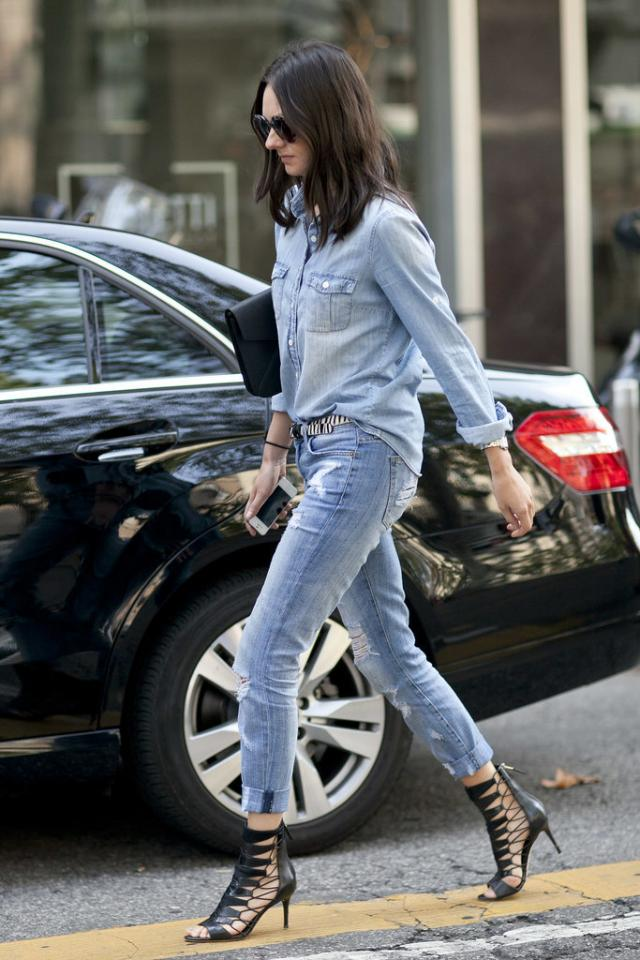 Reinvent Your Denim on Denim  Denim on denim isn't new, but you totally can make it feel new again with a snazzy pair of heels, a bright statement necklace, or a cool sweater layered on top.