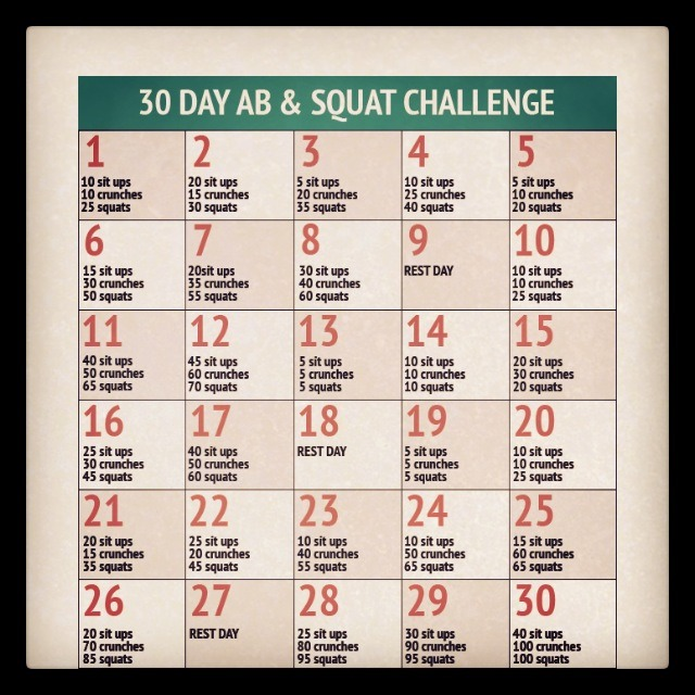 30 day abs and squats challenge. awesome Bikini body