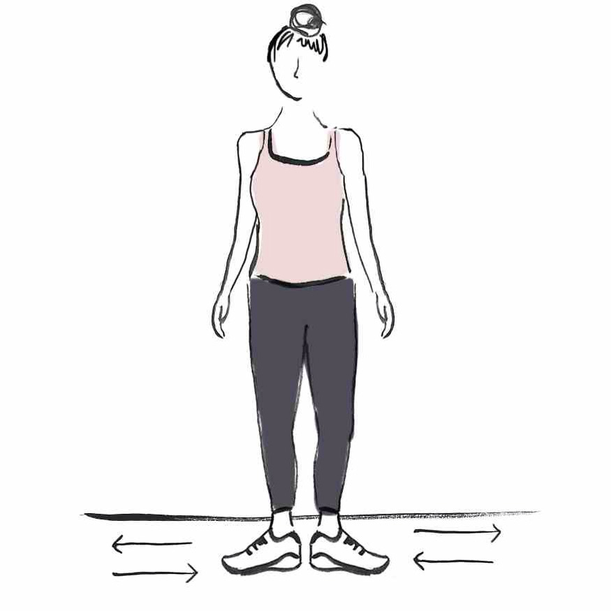 ALTERNATING TOES Standing, rotate in the ankle, so that your heels are together, then your toes are together. This is great for the inner and outer hamstring.