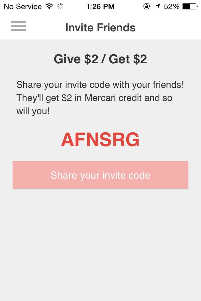 Type in the code you see here when signing up for Mercari! Mercari is a cool that allows you to buy and sell things. A lot of things on here are super cheap and affordable but are also in really good condition. I recommend this app 100% to everybody. Also, if something goes wrong with your purchase