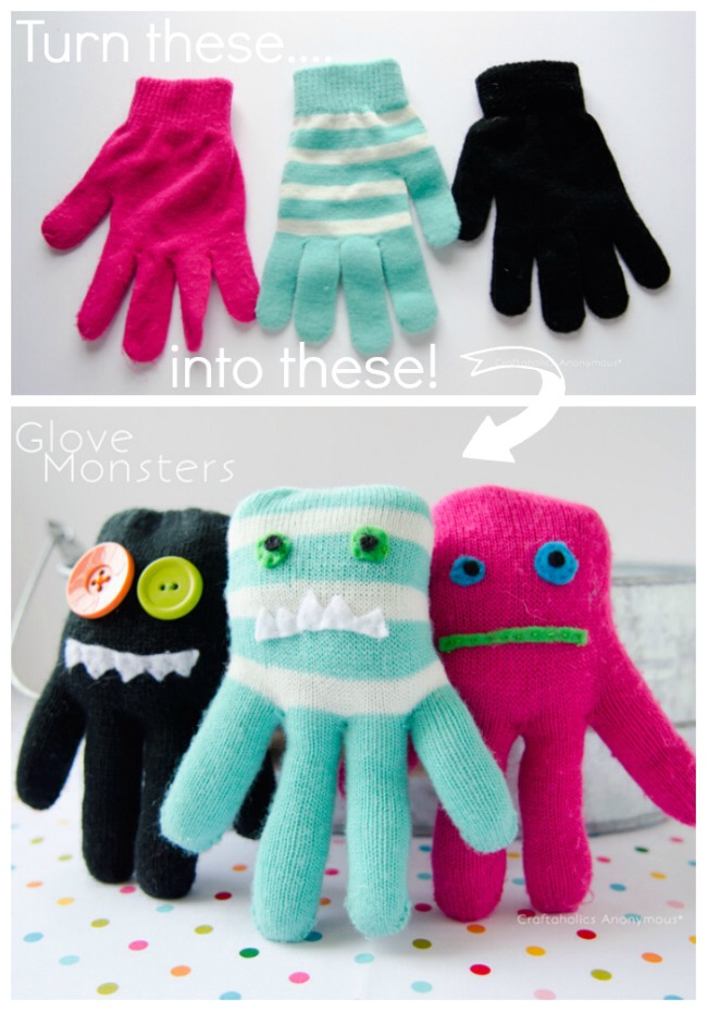 "If you're like us, every winter, the Glove Thief comes and steals a glove or two…so we end up with a bunch of solo gloves. And the question of, ""What to do with all these single gloves?"" now has an answer ….Make Glove Monster Softies!"