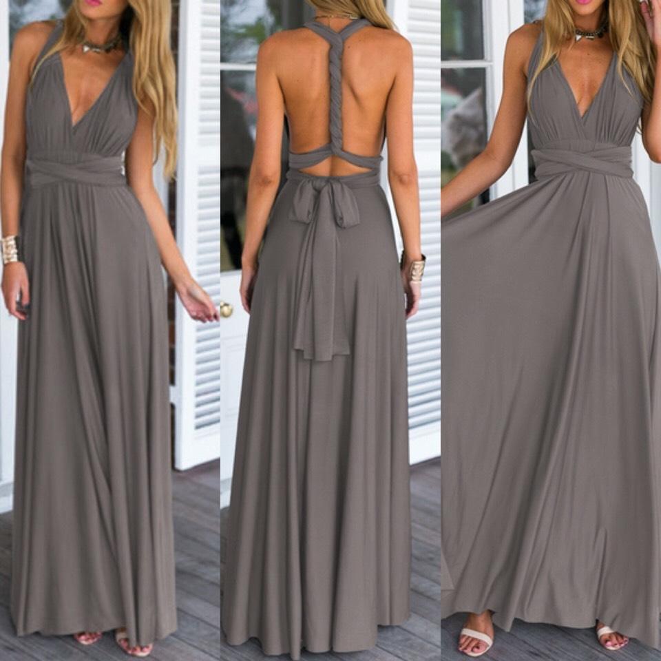 $21.26 http://m.romwe.com/Grey-Deep-V-Neck-Self-Tie-Maxi-Dress-p-147818-cat-724.html
