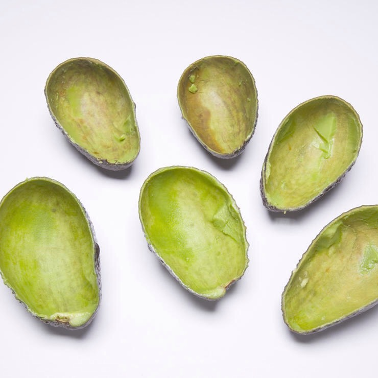 USE THOSE AVOCADO SKINS | Rub the inside of a peel on your body to exfoliate dry skin + hydrate with the bit of avocado left on the inside. Leave the residue on your skin for five minutes before rinsing in the shower + patting dry.