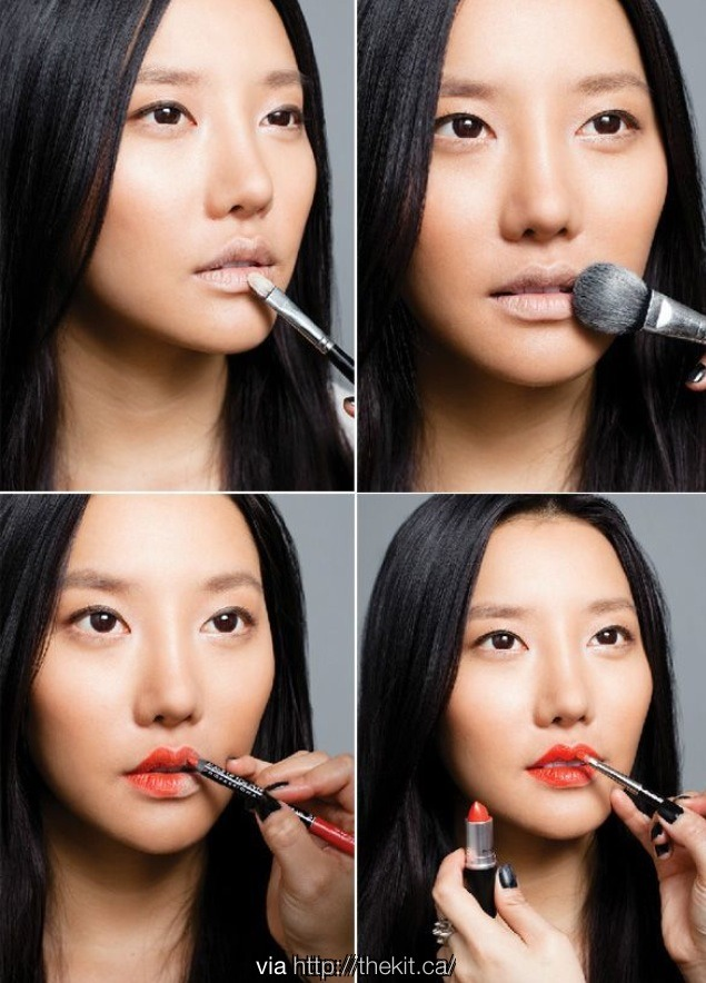 Use some loose power on your lips before putting your lipstick it stays longer and looks so great!