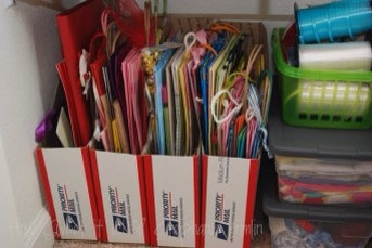 3.Create aneasy-to-use dispenserfor all of your fabric and curling ribbon, so a spool never dashes across the room from you ever again.  Find instructions here  http://spunkyjunky.blogspot.com/2011/01/tutorial-tuesday-5-dollar-ribbon.html?m=1