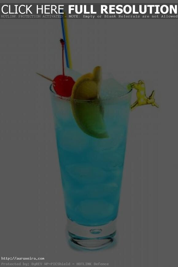 For this fun drink you'll need  1. Blue curaçao liqueur  2. Sprite 3. Vodka  First, you fill the glass up 1/2 way with sprite Then, put 2 oz blue curaçao  Then, 1 oz vodka Mix Add your decorations (cherry, limes) ENJOY