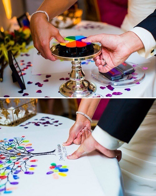 Draw a tree on a large canvas and have your wedding guests add their thumb prints as leaves. It's truly a great way to remember you wedding. I've done this before, expect it wasn't a wedding.