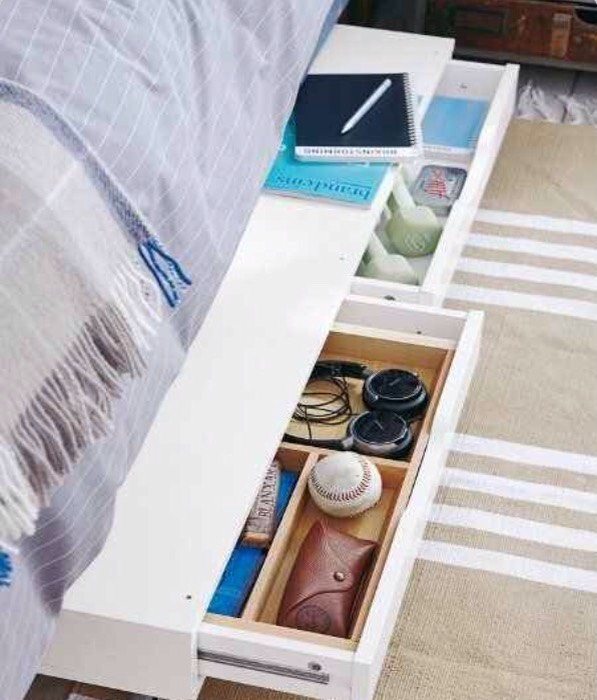 Just add casters to the Ekby drawer shelf for some slide-out-under-bed storage!!