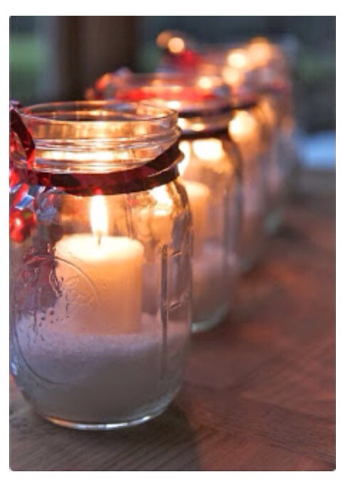 All you need is a mason jar, Epsom salt, a ribbon, and a candle. Put the Epsom salt in the jar and tie a ribbon around the top of the jar. The last step is to put the candle in and there you go! The best part about this is you can add or take away whatever you want. 👍