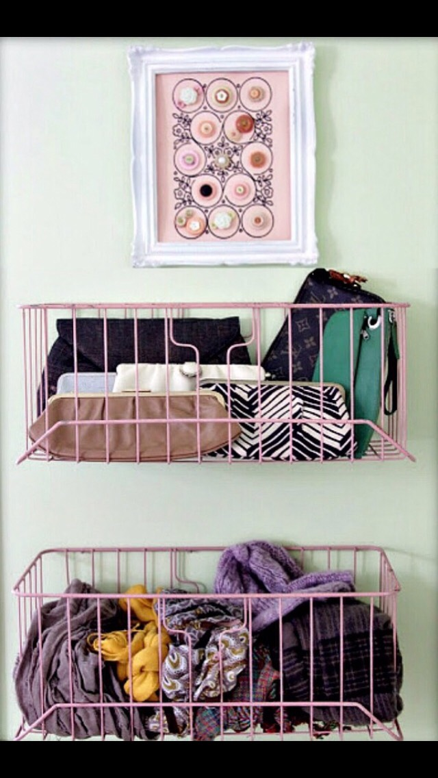put these cute little racks on the back your door for easy storage